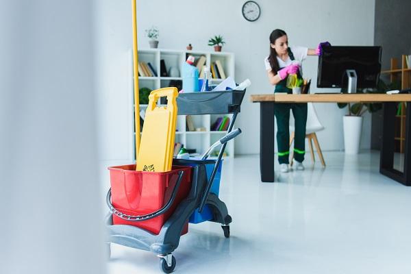 Impresa di pulizia al lavoro.